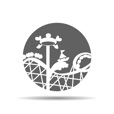 roller coaster: black roller coaster icon or amusement ride icon on a grey background