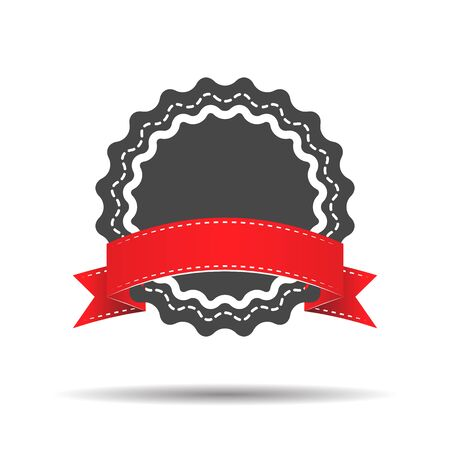 qualify: badge with red ribbon icon - vector illustration