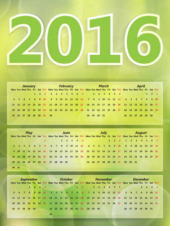 blurry lights: Abstract background green blurry lights, green bokeh abstract light 2016 year calendar Illustration