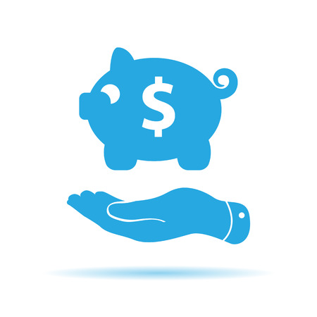 pleading: flat hand showing blue piggy bank icon on a white background
