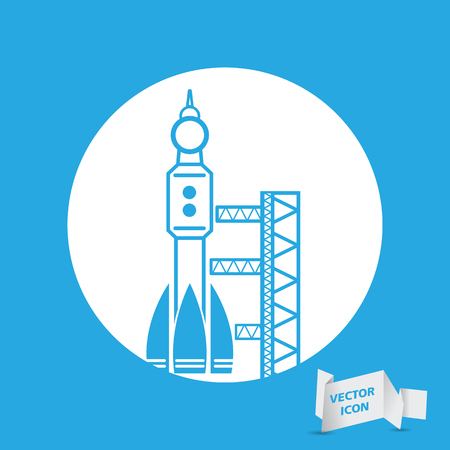 spaceport: blue launch site withrocket,  spaceport icon, vector illustration