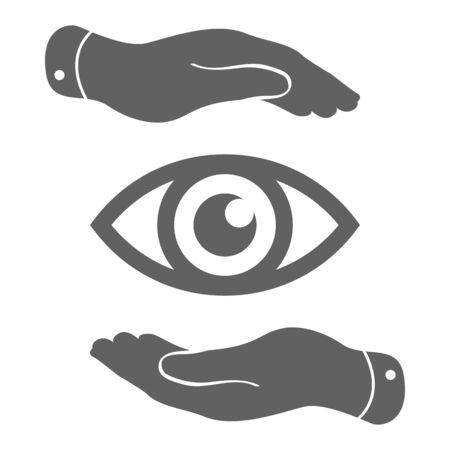 two visions: two hands take care of the eye icon - protecting vector illustration Illustration