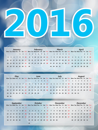 blurry lights: Abstract Festive background blurry lights, blue sky bokeh abstract 2016 year calendar Illustration