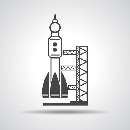 spaceport: black launch site with rocket, spaceport icon, vector illustration Illustration