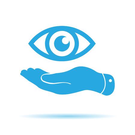 pleading: flat hand represents the eye icon - vector illustration Illustration