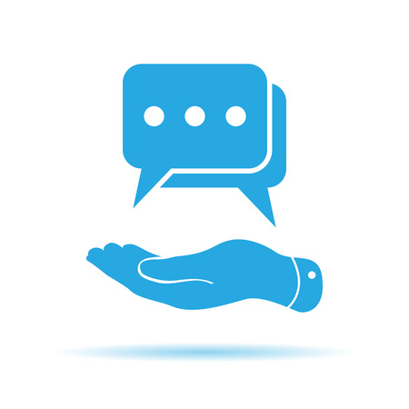 talk show: flat hand showing chat icon on a white background Illustration