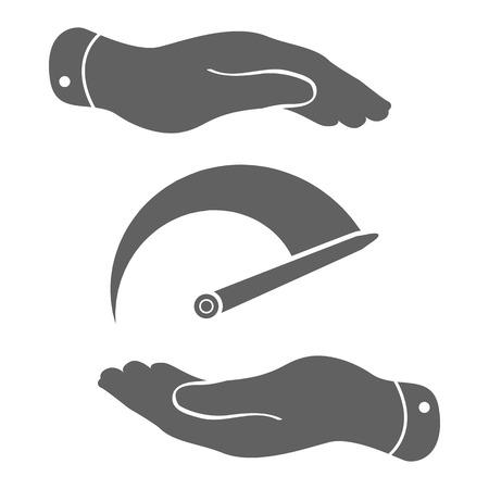tacometro: dos manos con el icono del tac�metro. Ilustraci�n vectorial
