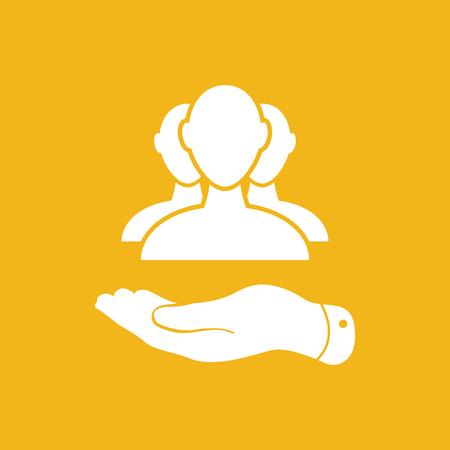 main à plat avec un groupe d'affaires icône sur un fond jaune - illustration vectorielle