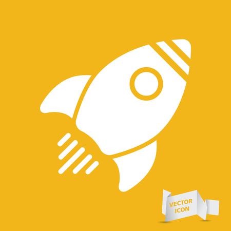 yellow flat rocket icon - vector illustration