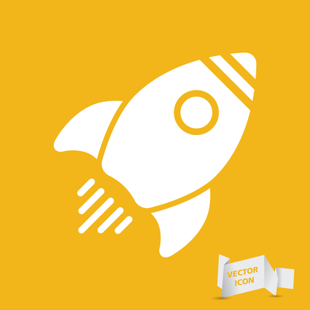 ship sign: yellow flat rocket icon - vector illustration