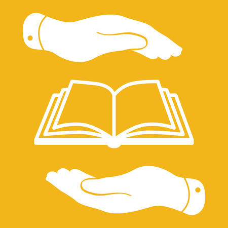 protection of the bible: white book icon in flat hands isolated on yellow background- vector illustration