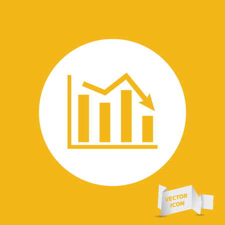 going down: white flat icon of graph going down on yellow background Illustration