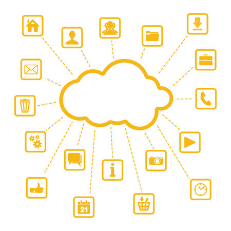 internet background: set of yellow web, multimedia and business icons on a white background - internet of things Illustration
