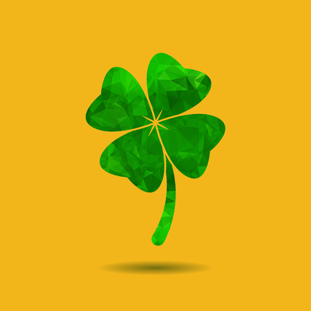 four fourleaf: Abstract geometric green Clover with four leaves sign icon. Saint Patrick symbol