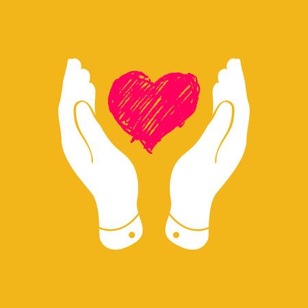 corazon en la mano: Doodle del corazón en icono de las manos abiertas - ilustración vectorial