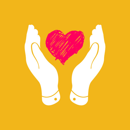 hand with card: Doodle heart in flat hands icon - vector illustration Illustration