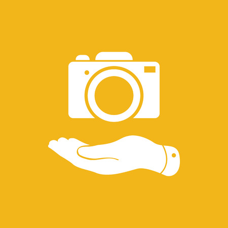flat hand shows the photo camera icon - vector illustration Illustration