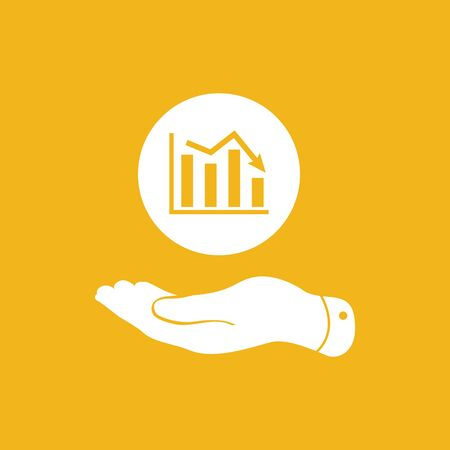 going down: flat hand showing the icon of graph going down - vector illustration