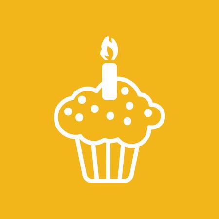 pastel de cumpleaños: blanco icono de pastel plano sobre un fondo amarillo