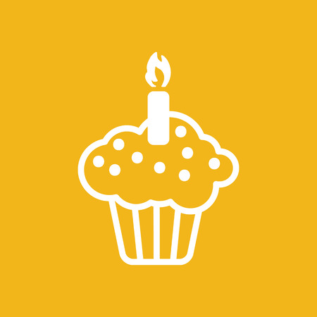 birthday party: white flat cake icon on a yellow background