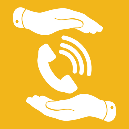 cell phone booth: two hands protecting white phone receiver icon on the yellow background - vector illustration