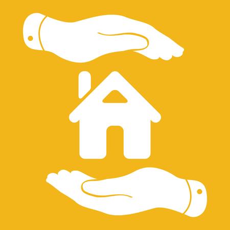 caring hands: zorgzame handen pictogram - het beschermen van huis vector illustratie Stock Illustratie