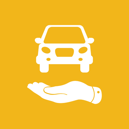 pleading: flat hands showing white car icon - vector illustration