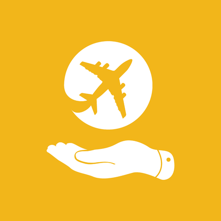 pleading: white flat hand showing airplane icon on yellow background