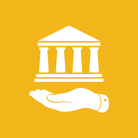 pleading: flat hand presenting bank architecture icon