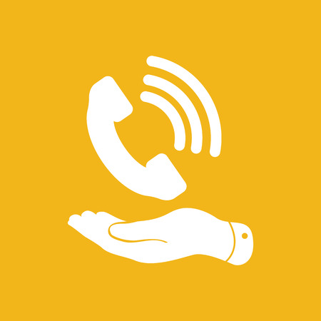 cell phone booth: flat hand showing white phone receiver icon on yellow background