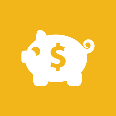 business sign: white piggy bank icon on the yellow background
