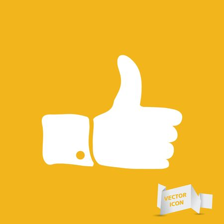 sign up: white flat thumbs up sign on yellow background