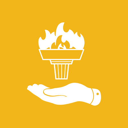 lit: flat hand represents white torch with flame icon - vector illustration Illustration