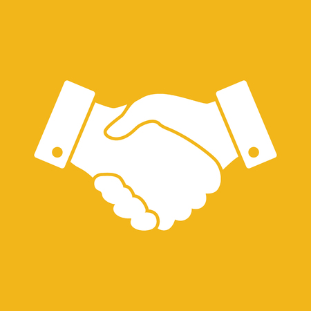 finance concept: yellow handshake vector icon. design for business and finance concept
