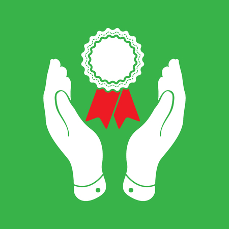 pleading: two hands with badge and red ribbons icon - vector illustration