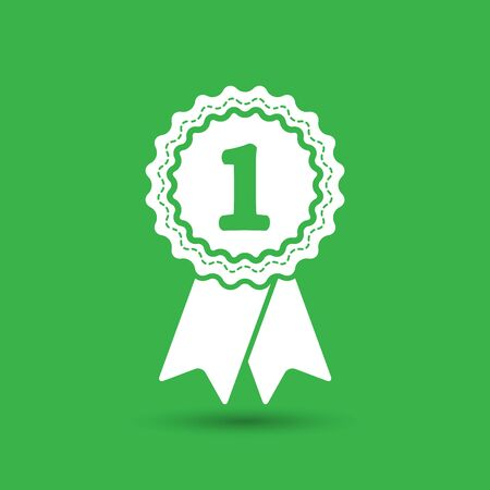 qualify: first place award badge with ribbons icon - vector illustration