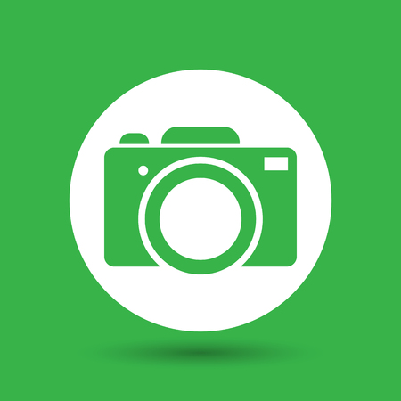 reflex: green flat photo camera icon - vector illustration Illustration