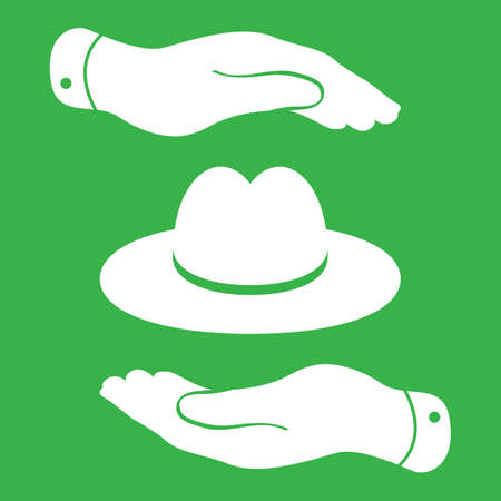 pleading: two hands with white hat icon - vector illustration