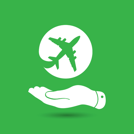 pleading: white flat hand showing airplane icon on the green background Illustration