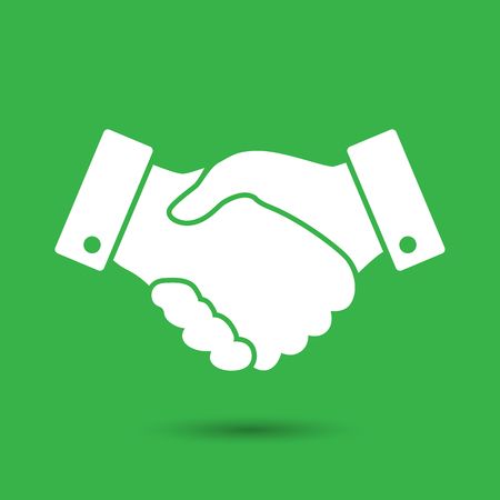 finance concept: green handshake vector icon. design for business and finance concept