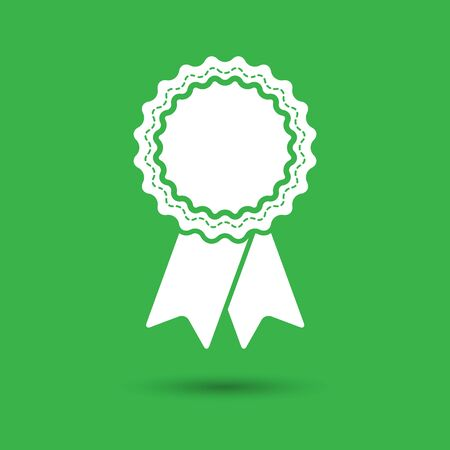 qualify: badge with ribbons icon on green background - vector illustration
