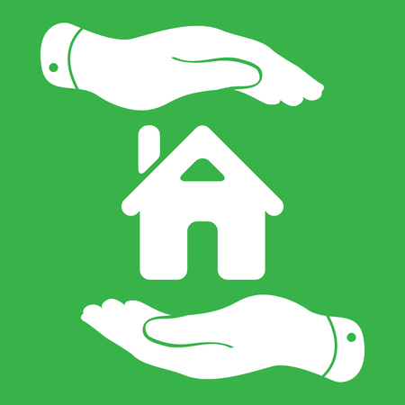 caring hands: caring hands icon - protecting house vector illustration