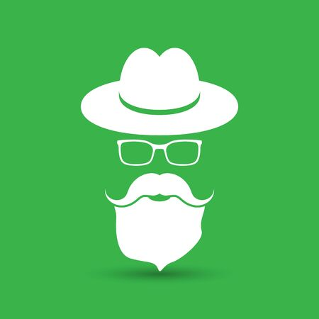whisker characters: white hat with mustache, beard and glasses isolated on the green background Illustration