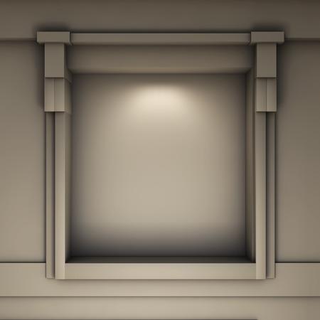 niche: empty niche with spotlight for exhibit in the grey interior