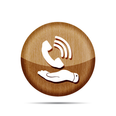 cell phone booth: wooden flat hand showing phone receiver icon on a white background