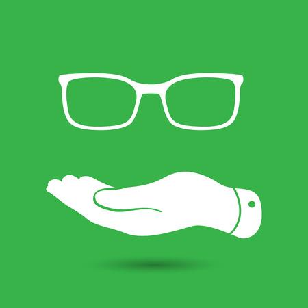 represents: flat hand represents glasses icon - vector illustration Illustration
