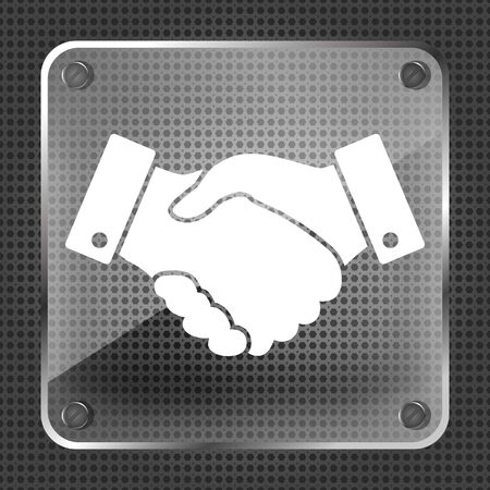 finance concept: Glass Handshake vector icon on a metallic background. design for business and finance concept Illustration
