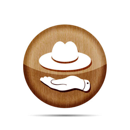 wooden hat: wooden hand showing hat icon on a white background