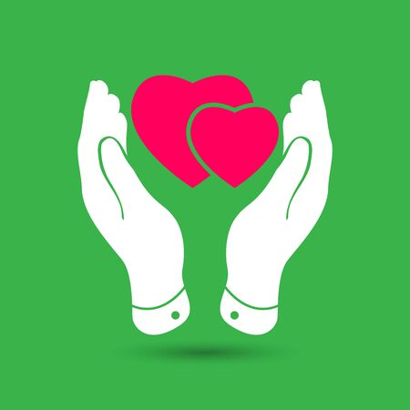 hold hand: two pink hearts icon in careful hands - vector illustration