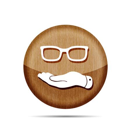 represents: wooden flat hand represents glasses icon - vector illustration